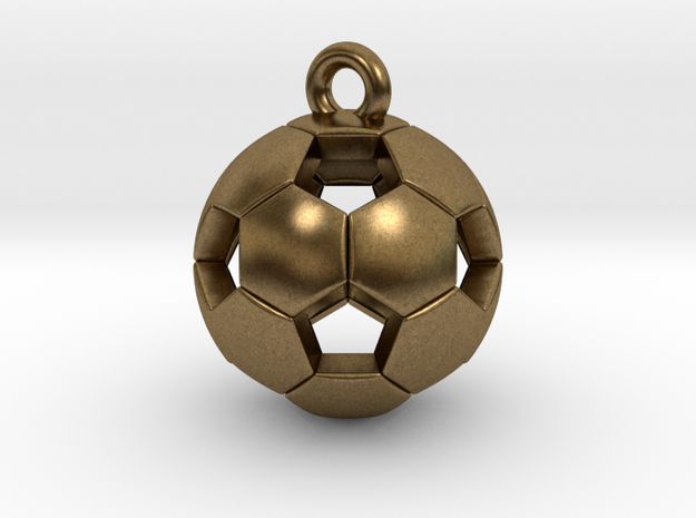 Soccer Ball Pendant in Natural Bronze