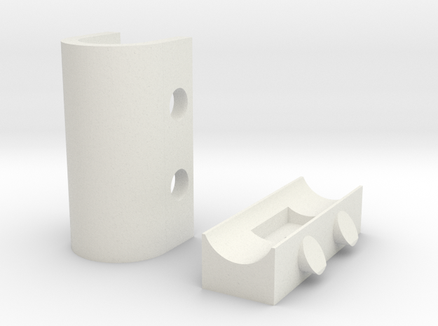 Coaxial Wall Clip in White Natural Versatile Plastic