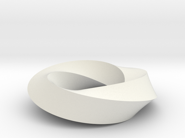 Mobius Loop - Square 3/4 twist in White Natural Versatile Plastic