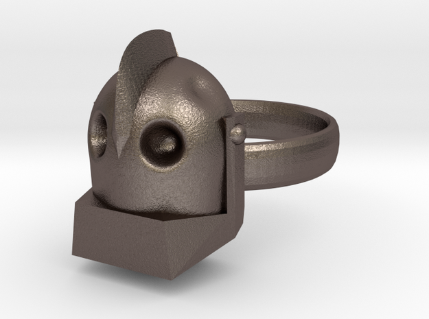 The Iron Giant Ring in Polished Bronzed Silver Steel