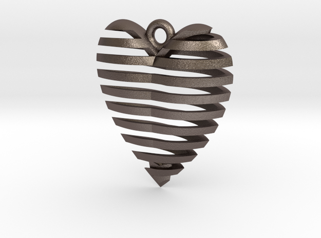 Heart Spiral Pendant 3d printed