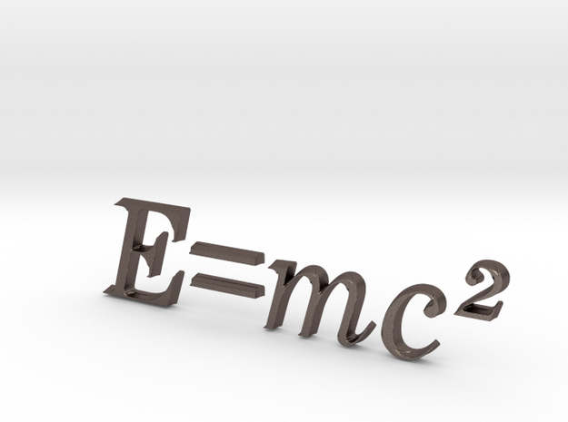 E=mc^2 3D A in Polished Bronzed Silver Steel