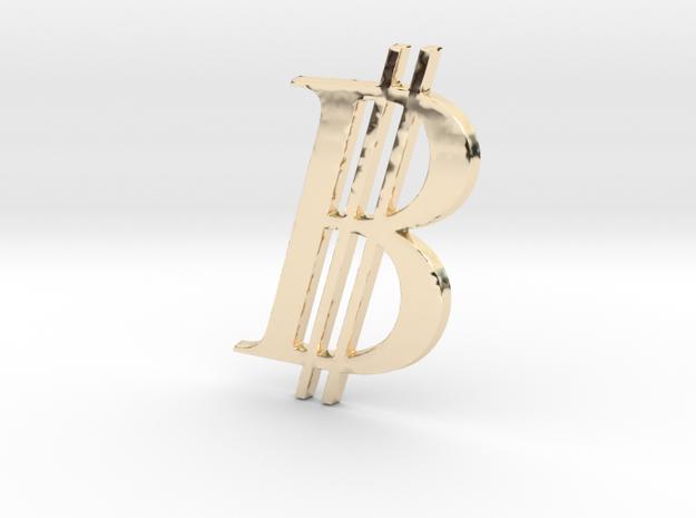 Bitcoin Logo 3D 80mm in 14K Yellow Gold