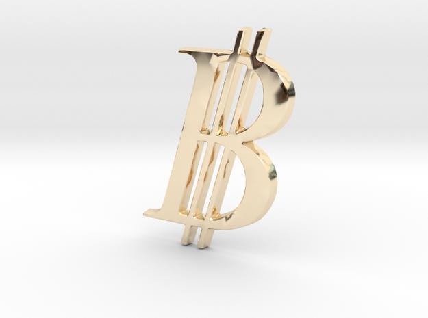 Bitcoin Logo 3D 30mm in 14K Yellow Gold