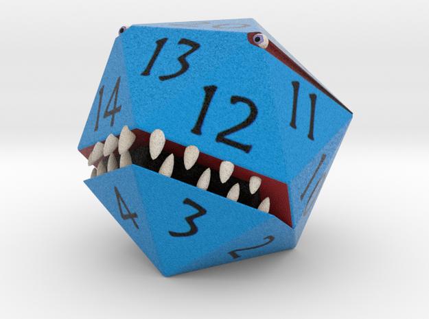 D20 Blue Monster Figurine in Full Color Sandstone