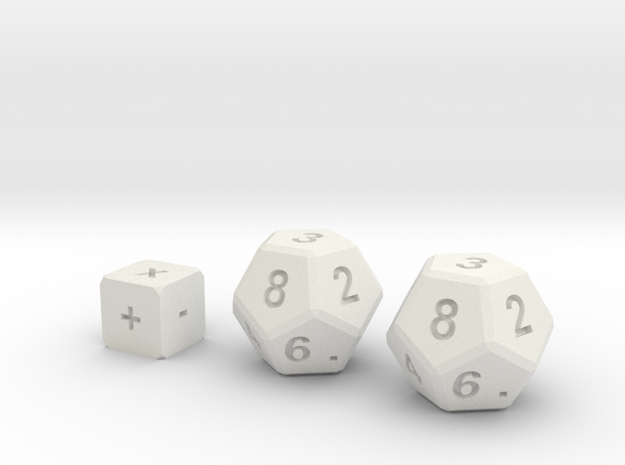 Math Practice Dice By Ctrl Design in White Natural Versatile Plastic