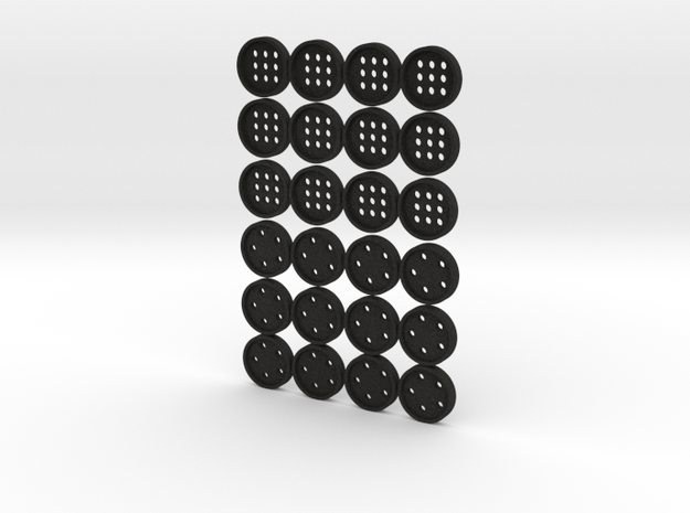 """tiny (5/16"""") buttons (12 star, 12 alphabet) in Smooth Fine Detail Plastic"""