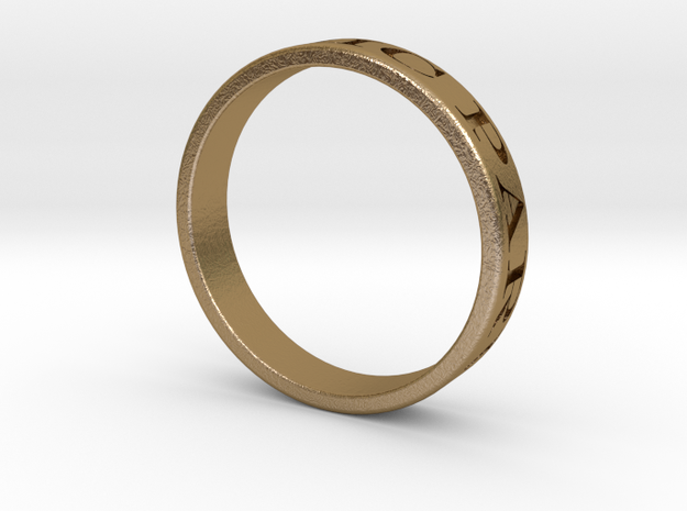 Latin Motto Ring in Polished Gold Steel