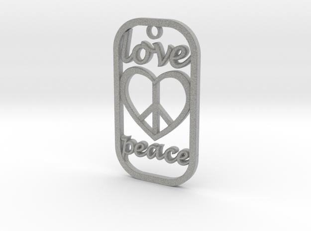 Dog Tag Love Peace Def File in Metallic Plastic