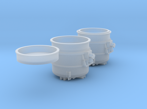 Z-scale 250t Teeming Ladle set, empty and loaded in Smooth Fine Detail Plastic