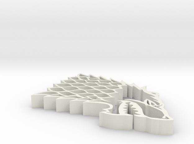 Game of Thrones GoT Stark Sigil Pendant in White Natural Versatile Plastic