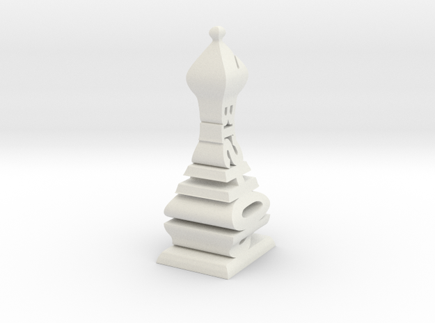 Typographical Bishop Chess Piece in White Natural Versatile Plastic