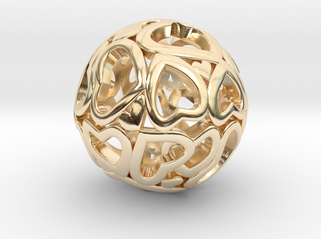 Heartball 20mm in 14K Yellow Gold