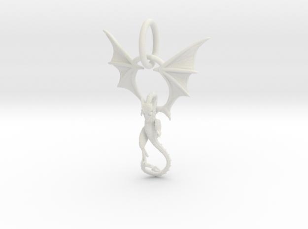 Dragon pendant # 6 in White Natural Versatile Plastic