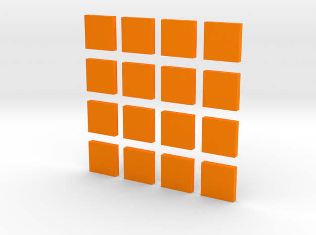 DIY 2048 Coaster Set (Orange Pieces) in Orange Processed Versatile Plastic