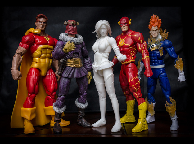FB01-Body-01s  6inch 3d printed Size comparison with other 6 inch figures.