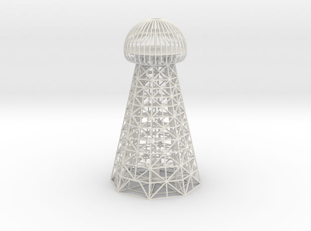 Tesla Tower Replica in White Natural Versatile Plastic