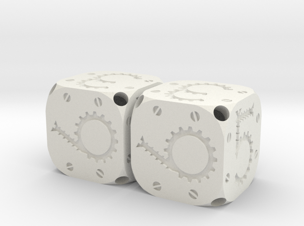 Tinker Dice Plastic D6 Pair  in White Natural Versatile Plastic