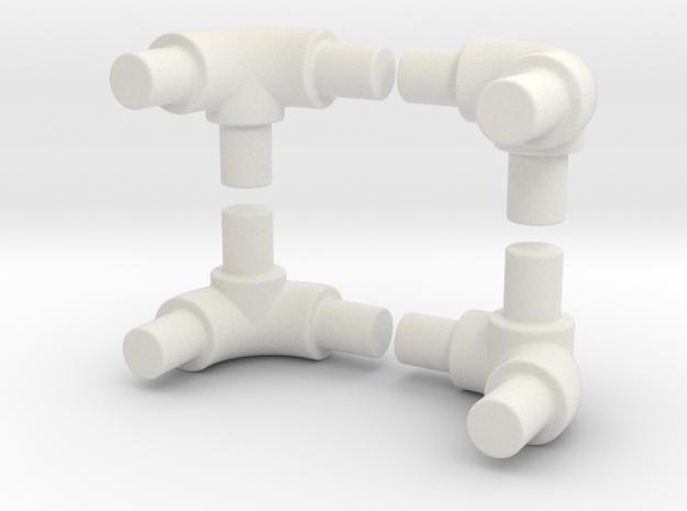 90 degree bend tube for roll bar in White Natural Versatile Plastic