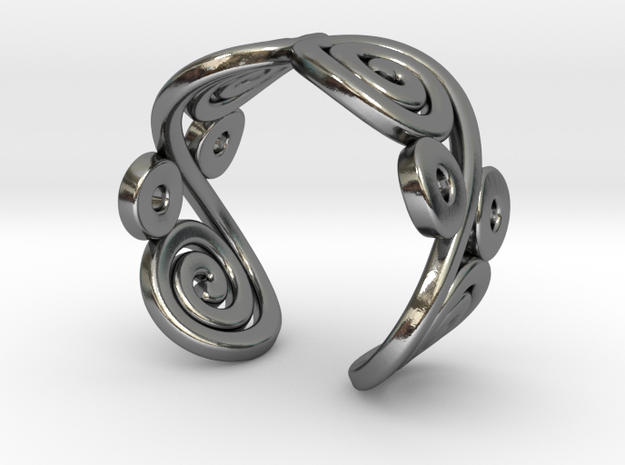 2 Spirals and ovals ring 3d printed