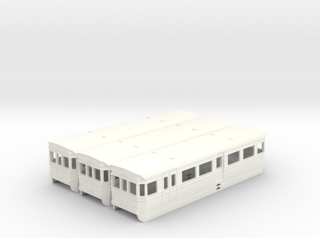 (UNTESTED) BUT/ACV railbus set in 4mm scale in White Processed Versatile Plastic
