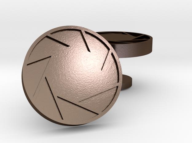 Aperture cufflinks 3d printed
