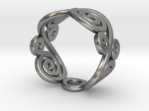 2 Spirals & Ovals (Closed version) in Natural Silver