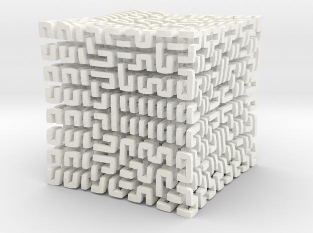 Square 3D Hilbert curve (4th order) 3d printed