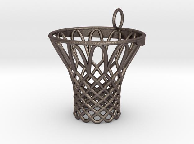 Pendant Basketball Hoop in Polished Bronzed Silver Steel