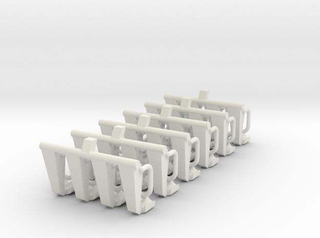 """6 Sitzbänke """"Afterburner 24"""" für 1:87 (H0) in White Natural Versatile Plastic"""