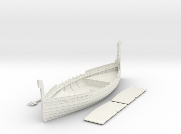 Russian Warship, with full deck and no shields in White Natural Versatile Plastic