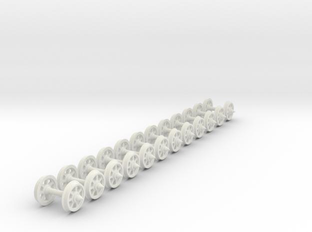 55n2 wheels on axles 7 Spoke 9.8 mm diameter 12mm in White Natural Versatile Plastic