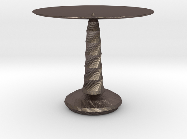 red cap table 3 in Polished Bronzed Silver Steel