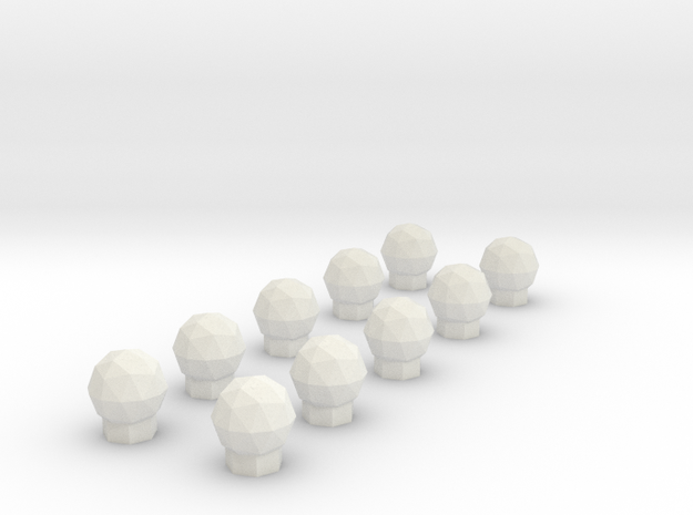 10 Domes in White Natural Versatile Plastic