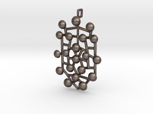 Pendant_top_Emblem_poko_poko in Polished Bronzed Silver Steel