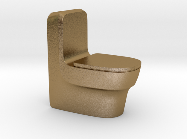 Toilet in Polished Gold Steel
