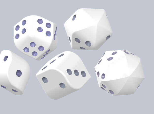 set of dice with convex faces (pips) 3d printed