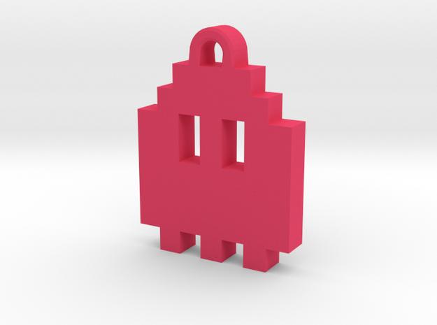 Pac Man Ghost 8-bit Earring 1 (looks up) in Pink Processed Versatile Plastic