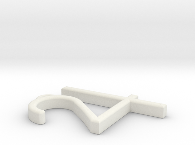 """Jupiter Symbol Pendant 1.5"""" in White Strong & Flexible"""