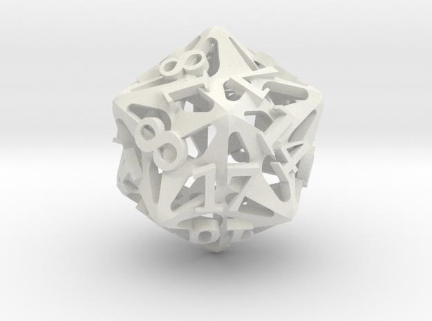 Pinwheel Die20 Ornament in White Natural Versatile Plastic
