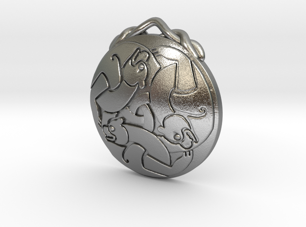Merida's Keltic Bear Pendant in Raw Silver