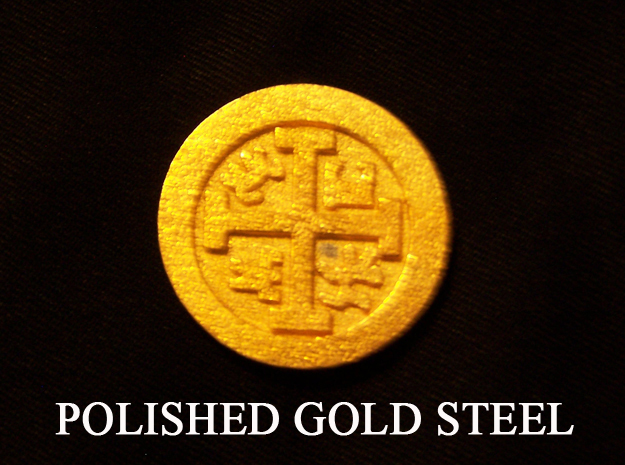 Goonies Style Pirate Coin in Polished Gold Steel