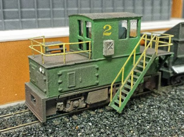N-scale quench locomotive (RIGHT-hand version) 3d printed Prototype, ready for operation except for the couplers that I forgot to order... The prototype revealed fitment problems with the stairs which are fixed on the production model.