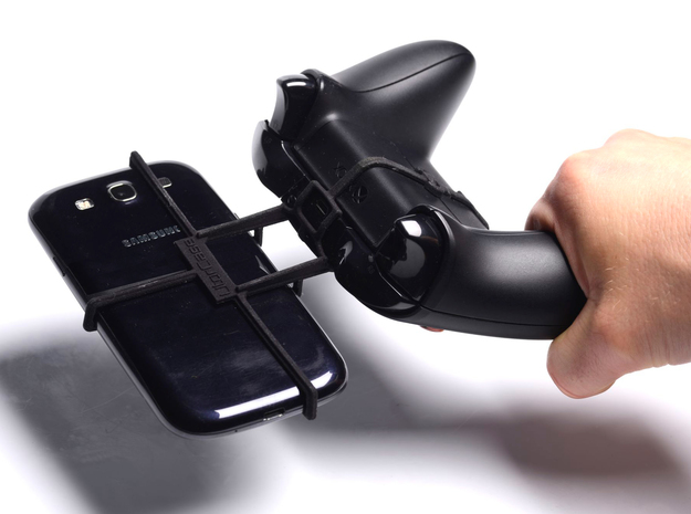 Xbox One controller & LG Enact VS890 3d printed In hand - A Samsung Galaxy S3 and a black Xbox One controller