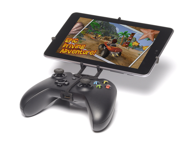 Xbox One controller & Samsung Galaxy Tab 2 10.1 P5 3d printed Front View - A Nexus 7 and a black Xbox One controller