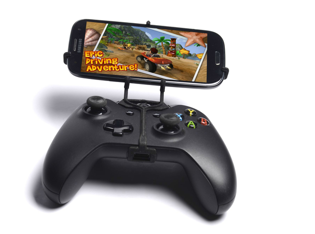 Xbox One controller & HTC P3350 3d printed Front View - A Samsung Galaxy S3 and a black Xbox One controller