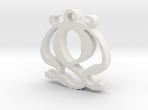 Two Necklace Pendant  in White Natural Versatile Plastic