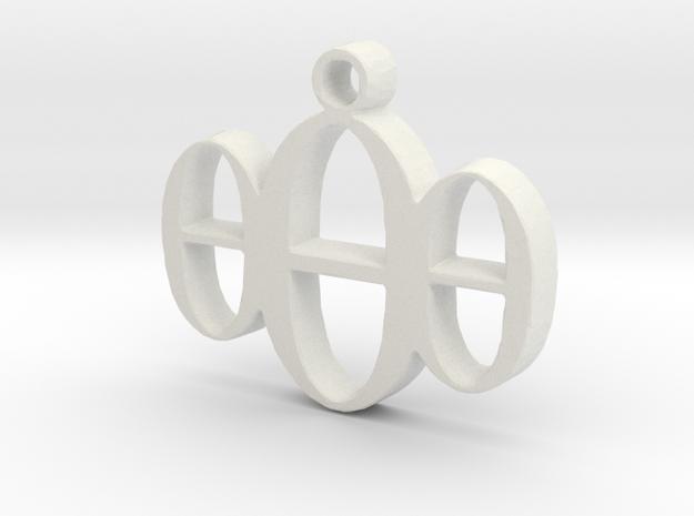 000 Necklace Pendant  in White Natural Versatile Plastic