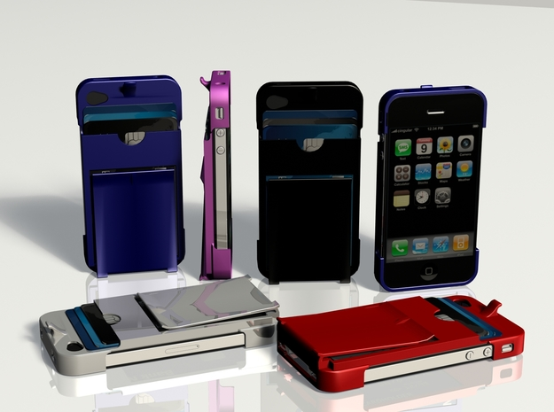 Sleek All-in-one Iphone 4 Case, Card Holder, Money in White Natural Versatile Plastic