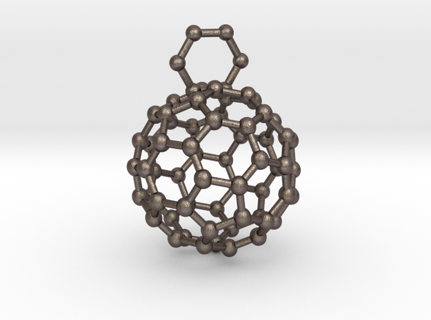 Bucky ball necklace 3r in Polished Bronzed Silver Steel